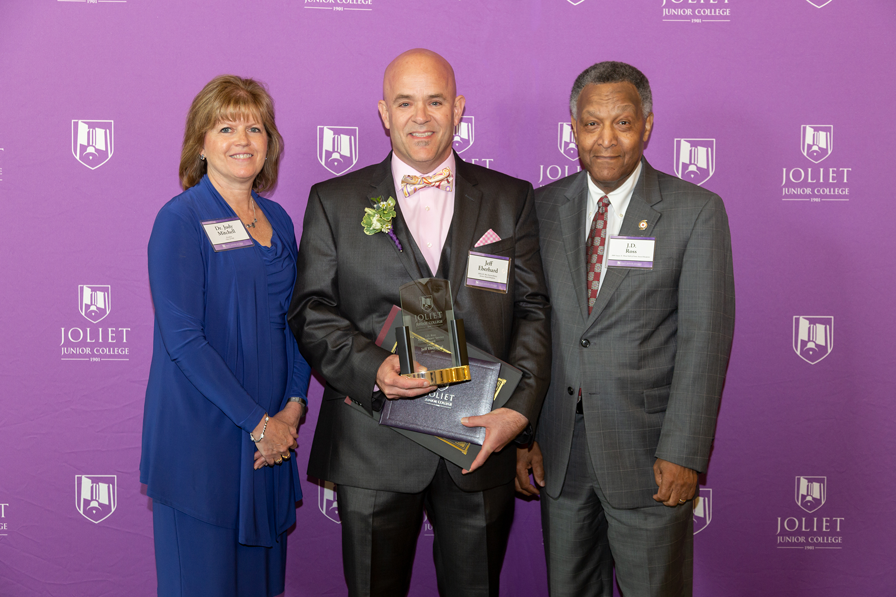 From left: JJC President Dr. Judy Mitchell, Jeff Eberhard (J.D. Ross Extraordinary Service Award recipient), and JJC President Emeritus J.D. Ross.