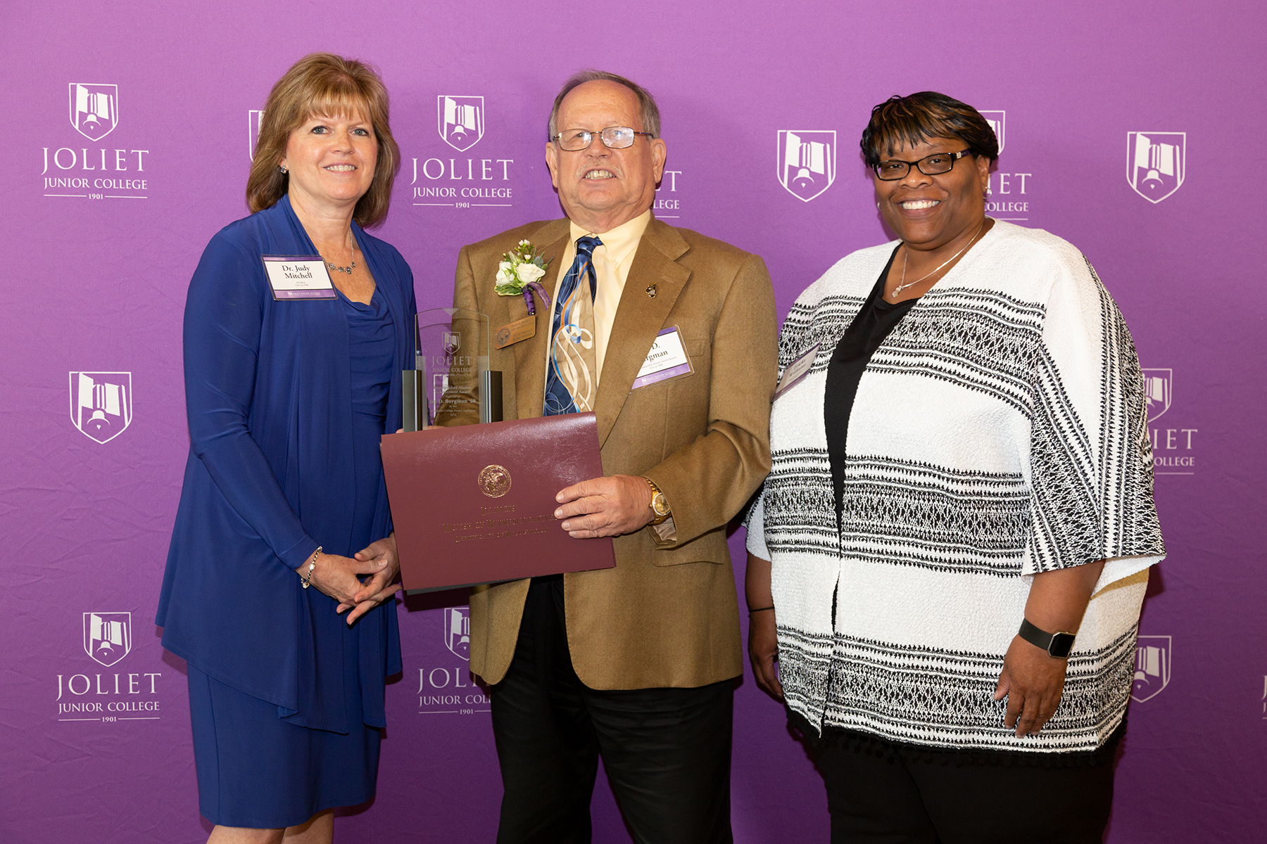 From left: JJC President Dr. Judy Mitchell, Jay Bergman (Distinguished Alumni Achievement Award recipient), Alumni Board President Ericka Williams.
