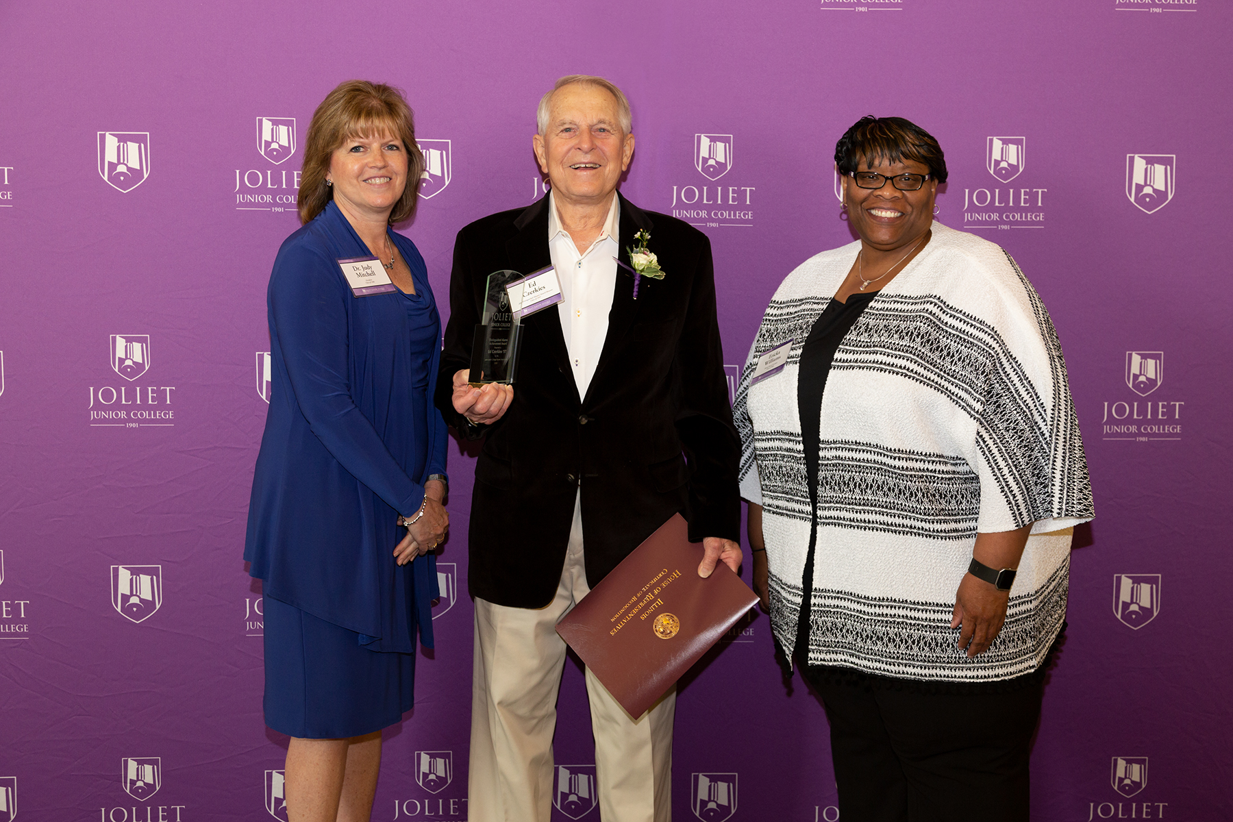 From left: JJC President Dr. Judy Mitchell, Ed Czerkies(Distinguished Alumni Achievement Award recipient), Alumni Board President Ericka Williams.