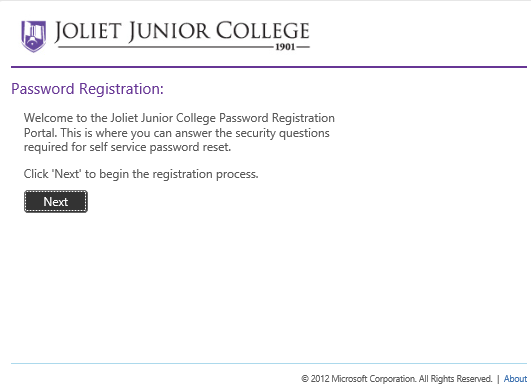 image of welcome screen for the Password Registration Portal