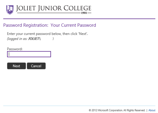 image of verification of password for JJC Resources