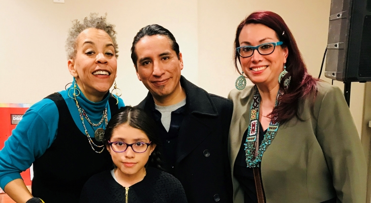 Musician Maggie Brown with JJC art contest winner K'trina Miranda Villegas and her family.