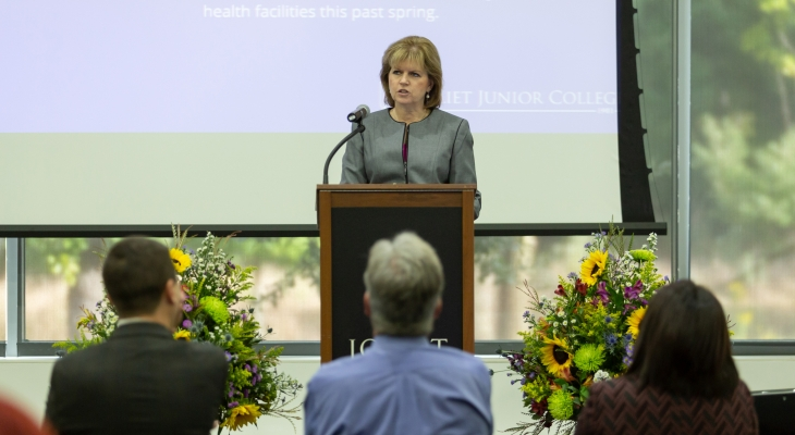 President Dr. Judy Mitchell speaking at the State of the College