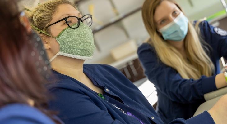 Nursing students in masks